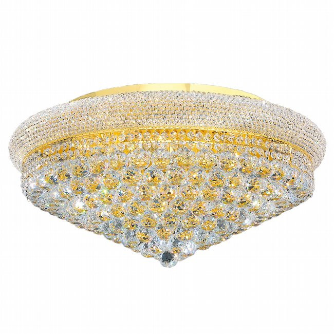 W33011G28 Empire 15 Light Gold Finish and Clear Crystal Flush Mount Ceiling Light
