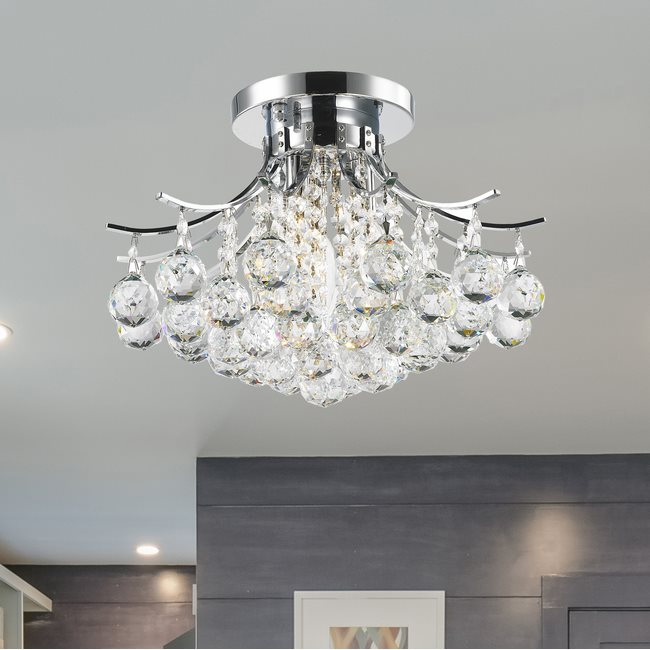 W33015C16 Empire 3 light Chrome Finish with Clear Crystal Ceiling Light