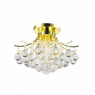 Empire Collection 3 Light Gold Finish and Clear Crystal Flush Mount Ceiling Light