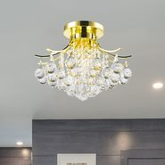 W33015G16 Empire 3 Light Gold Finish and Clear Crystal Flush Mount Ceiling Light