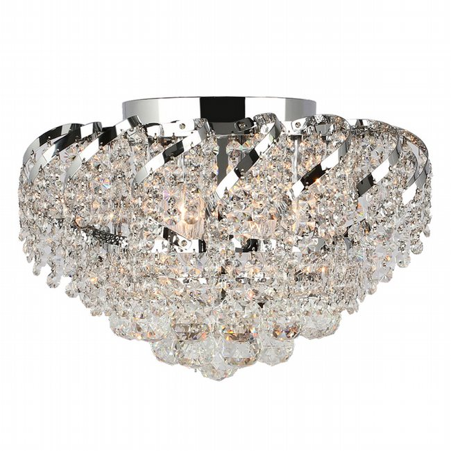 W33017C16 Empire 6 Light Chrome Finish and Clear Crystal Flush Mount Ceiling Light