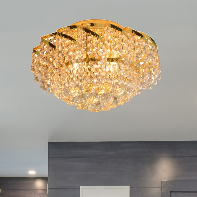 W33017G16 Empire 6 light Gold Finish with Clear Crystal Ceiling Light