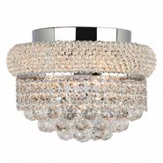 W33019C12 Empire 4 Light Chrome Finish and Clear Crystal Flush Mount Ceiling Light