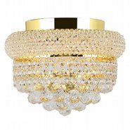 W33019G12 Empire 4 Light Gold Finish and Clear Crystal Flush Mount Ceiling Light