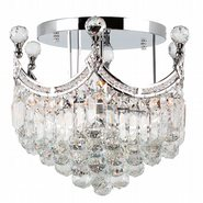 W33021C16 Empire 6 Light Chrome Finish and Clear Crystal Flush Mount Ceiling Light