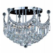 W33021C20 Empire 9 Light Chrome Finish and Clear Crystal Flush Mount Ceiling Light