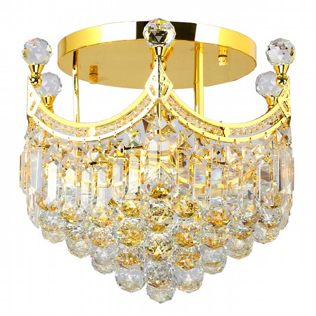 W33021G16 Empire 6 Light Gold Finish and Clear Crystal Flush Mount Ceiling Light