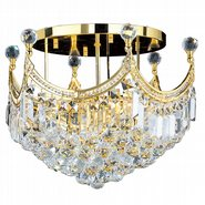 W33021G20 Empire 9 Light Gold Finish and Clear Crystal Flush Mount Ceiling Light