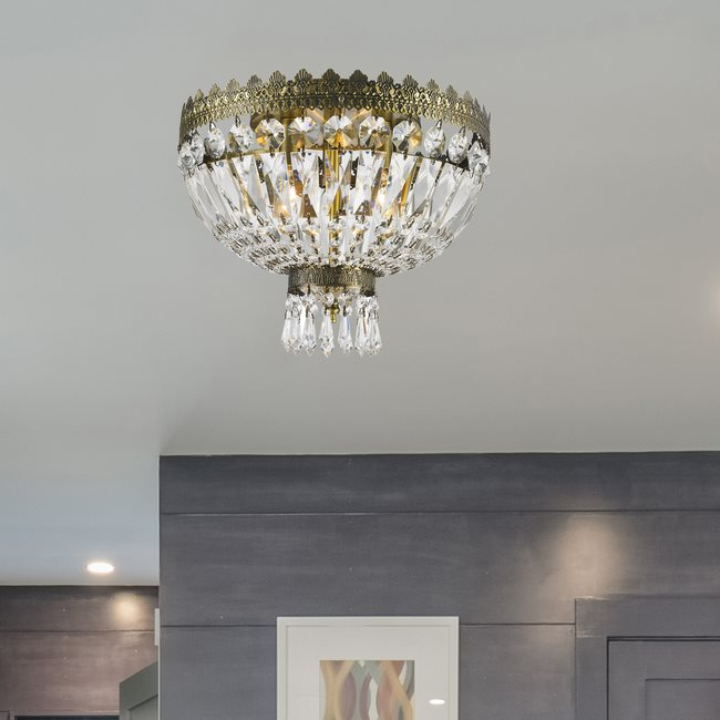 W33085B12 Metropolitan 3 light Antique Bronze Finish with Clear Crystal Ceiling Light