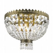 Metropolitan Collection 4 Light Antique Bronze Finish and Clear Crystal Flush Mount Ceiling Light