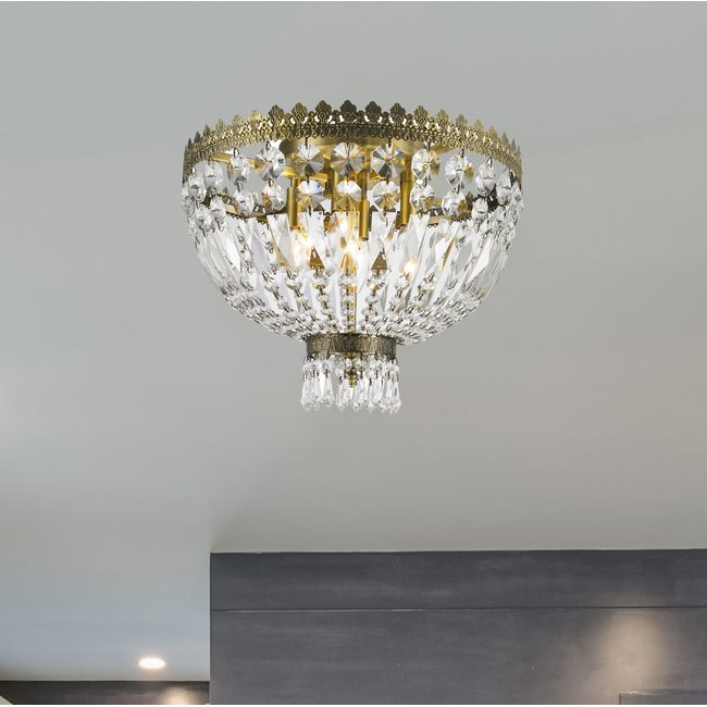 W33085B16 Metropolitan 4 Light Antique Bronze Finish and Clear Crystal Flush Mount Ceiling Light