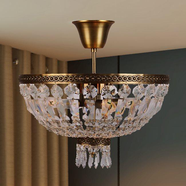 W33087B12 Metropolitan 3 Light Antique Bronze Finish and Clear Crystal Semi Flush Mount Ceiling Light