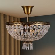 W33087B12 Metropolitan 3 Light Antique Bronze Finish and Clear Crystal Semi Flush Mount Ceiling Light