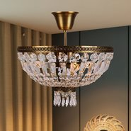 W33087B16 Metropolitan 4 Light Antique Bronze Finish and Clear Crystal Semi Flush Mount Ceiling Light