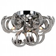 Medusa Collection 3 Light Chrome Finish and Clear Crystal Flush Mount Ceiling Light