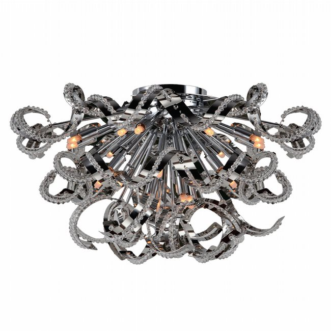 W33112C26 Medusa 19 Light Chrome Finish Crystal Flush Mount Ceiling Light
