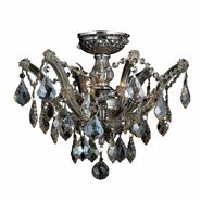 W33116C16-GT Maria Theresa 3 light Chrome Finish with Golden Teak Crystal Ceiling Light