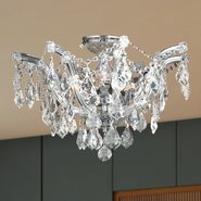 W33116C20-CL Maria Theresa 6 light Chrome Finish with Clear Crystal Ceiling Light