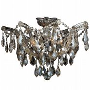 W33116C20-GT Maria Theresa 6 light Chrome Finish with Golden Teak Crystal Ceiling Light