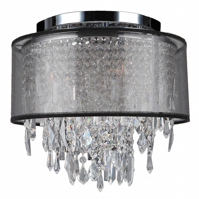 W33125C12-BSO Tempest 4 Light Chrome Finish Crystal Ceiling Light with Black Organza Shade - Discontinued