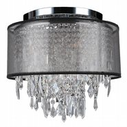 W33125C12-BSO Tempest 4 Light Chrome Finish Crystal Ceiling Light with Black Organza Shade