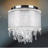 W33125C12-WSO Tempest 4 Light Chrome Finish Crystal Ceiling Light with White Organza Shade