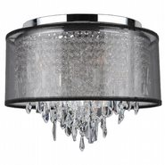 W33125C16-BSO Tempest 5 Light Chrome Finish Crystal Ceiling Light with Black Organza Shade - Discontinued