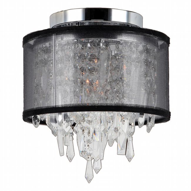 W33125C8-BSO Tempest 1 Light Chrome Finish Crystal Flush Mount Ceiling Light with Black Organza Shade - Discontinued