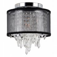 W33125C8-BSO Tempest 1 Light Chrome Finish Crystal Flush Mount Ceiling Light with Black Organza Shade
