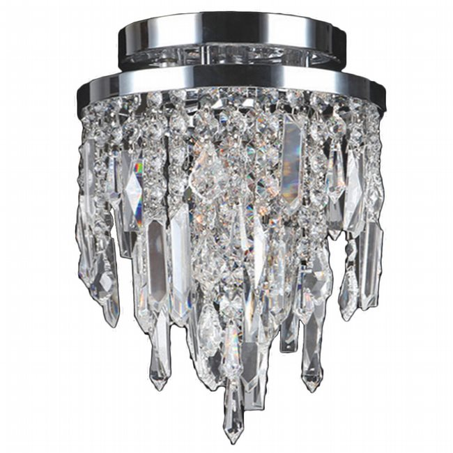 W33125C8 Tempest 1 light Chrome Finish with Clear Crystal Ceiling Light