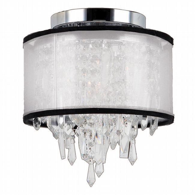 W33125C8-WSO Tempest 1 Light Chrome Finish Crystal Flush Mount Ceiling Light with White Organza Shade - Discontinued