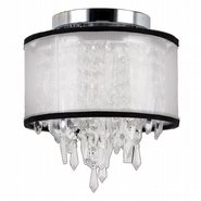 W33125C8-WSO Tempest 1 Light Chrome Finish Crystal Flush Mount Ceiling Light with White Organza Shade