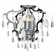 Henna Collection 6 Light Chrome Finish and Clear Crystal Flush Mount Ceiling Light