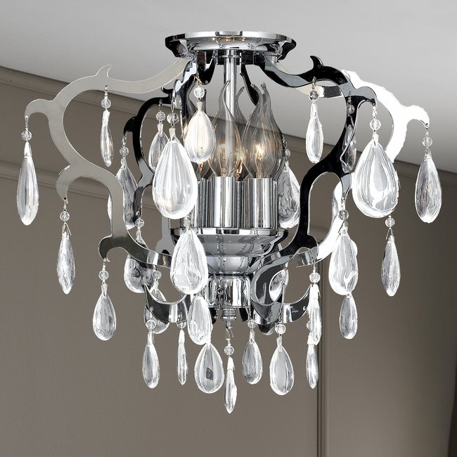 W33130C16 Henna 6 Light Chrome Finish and Clear Crystal Flush Mount Ceiling Light