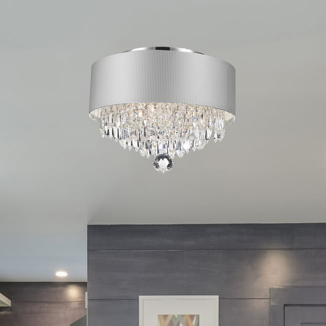 W33137C12-SV Gatsby Ceiling Light, D12 H9, 3 Light, Chrome Finish, Clear Crystal, White Acrylic Shade