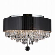 Gatsby Collection 4 Light Chrome Finish Crystal Ceiling Light with Black Acrylic Drum Shade