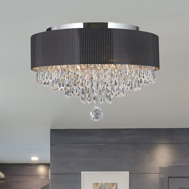 W33137C16 Gatsby 4 Light Chrome Finish Crystal Ceiling Light with Black Acrylic Drum Shade