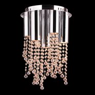 W33138C12-GT Metropolis 7 Light Halogen Chrome Finish and Golden Teak Crystal Flush Mount Ceiling Light