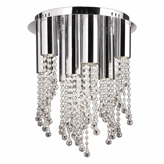 W33138C15-CL Metropolis 10 Light LED Chrome Finish and Clear Crystal Flush Mount Ceiling Light - Discontinued