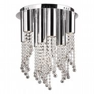 W33138C15-CL Metropolis 10 Light LED Chrome Finish and Clear Crystal Flush Mount Ceiling Light