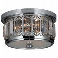 W33139C10 Parlour 3 Light Chrome Finish and Clear Crystal Ceiling Light