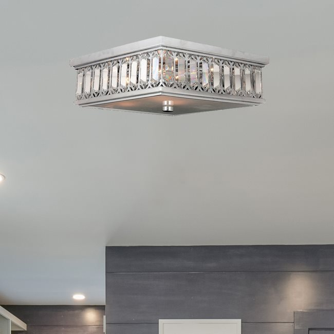 W33140C14 Athens 6 Light Chrome Finish and Clear Crystal Flush Mount Ceiling Light