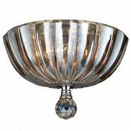 Mansfield 3 Light Chrome Finish and Golden Teak Crystal Flush Mount Ceiling Light