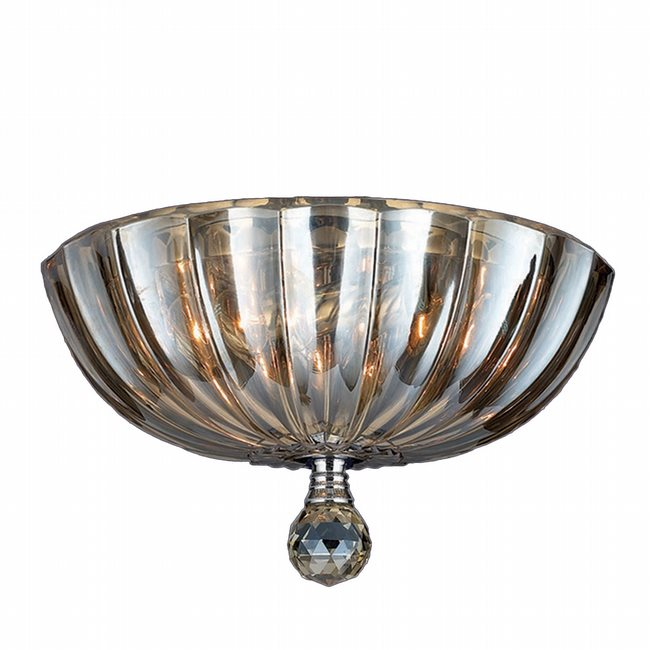 W33141C12-GT Mansfield 3 Light Chrome Finish and Golden Teak Crystal Round Flush Mount