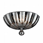 W33141C12-SM Mansfield 3 Light Chrome Finish and Smoke Crystal Round Flush Mount