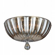 W33141C14-GT Mansfield 4 Light Chrome Finish and Golden Teak Crystal Flush Mount Ceiling Light