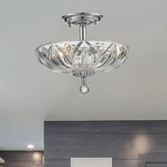 W33142C12-CL Mansfield 3 Light Chrome Finish Crystal Semi Flush Mount