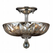 W33142C12-GT Mansfield 3 Light Chrome Finish and Golden Teak Crystal Semi Flush Mount Ceiling Light