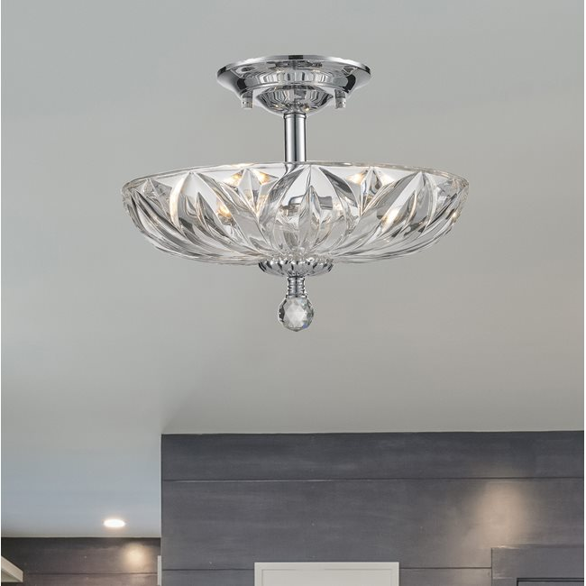 W33142C16-CL Mansfield 4 Light Chrome Finish Crystal Semi Flush Mount
