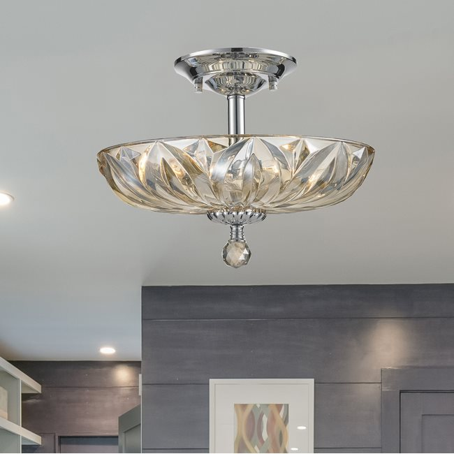 W33142C16-GT Mansfield 4 Light Chrome Finish and Golden Teak Crystal Flush Mount Ceiling Light
